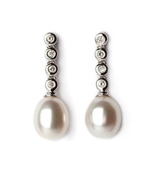 14KWG .08TW BEZEL AND PEARL DROP EARRINGS