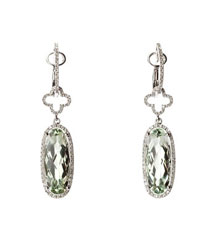 14KWG .45TW PAVE OVAL GREEN AMETHYST EARRINGS
