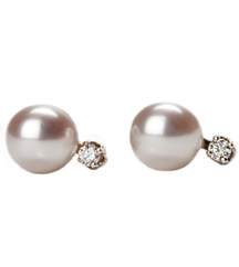 14K WHITE GOLD CULTURED PEARL AND ROUND DIAMOND STUD EARRINGS