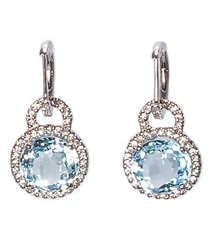 14KWG .33TW PAVE EARRINGS WITH ROUND BLUE TOPAZ
