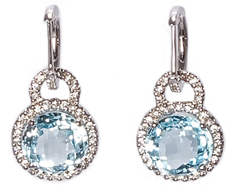 14k White Gold Round Blue Topaz And Pave Diamond Drop Earrings