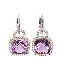 14KWG .40TW PAVE  CUSHION AMETHYST EARRINGS