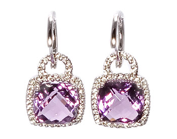 14K WHITE GOLD CUSHION AMETHYST AND PAVE DIAMOND DROP EARRINGS