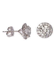 14K WHITE GOLD 2.30CTTW ROUND DIAMOND AND MARTINI MOUNTING SOLITAIRE EARRINGS
