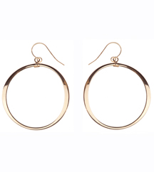 14K YELLOW GOLD OPEN ROUND DROP EARRINGS
