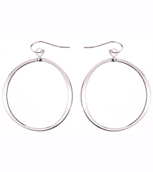 14K WHITE GOLD OPEN ROUND DROP EARRINGS