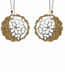 STERLING SILVER AND YELLOW GOLD PLATE EARRINGS