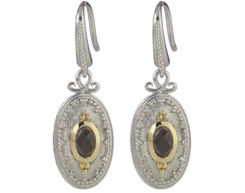 STERLING SILVER AND YELLOW GOLD SMOKEY QUARTZ OVAL SHAPED DROP EARRINGS