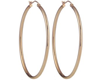 14K ROSE GOLD TUBE HOOP EARRINGS