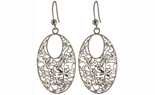 BLACK RHODIUM AND STERLING SILVER OVAL SHAPED MULTI FLOWER DESIGN DROP EARRINGS