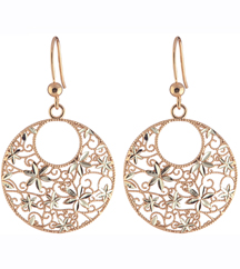 ROSE GOLD PLATED AND STERLING SILVER ROUND MULTI FLOWER DESIGN DROP EARRINGS