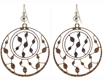 YELLOW GOLD PLATED ROUND LARGE AND SMALL VINE DESIGN DROP EARRINGS