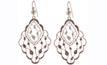 STERLING SILVER AND ROSE GOLD PLATED VINE EARRINGS
