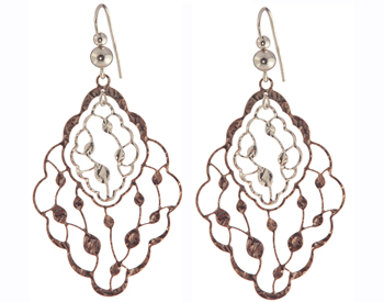ROSE GOLD PLATED AND STERLING SILVER MARQUISE SHAPED VINE DESIGN DROP EARRINGS