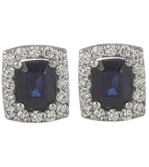 14K WHITE GOLD RECTANGLE SHAPED SAPPHIRE CENTER AND DIAMOND HALO STUD EARRINGS