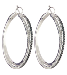 14K WHITE GOLD BLACK AND WHITE PAVE DIAMOND DOUBLE HOOP EARRINGS