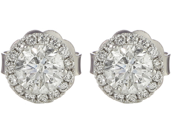 14K WHITE GOLD 2.19CTTW ROUND DIAMOND SOLITAIRE EARRINGS WITH HALO MARTINI MOUNTING