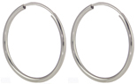 14K WHITE GOLD ROUND HOOP EARRINGS