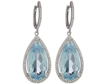 14K WHITE GOLD PEAR SHAPED SKY BLUE TOPAZ AND PAVE DIAMOND DROP EARRINGS