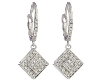 14K WHITE GOLD SQUARE SHAPED DIAMOND FILIGREE DROP EARRINGS