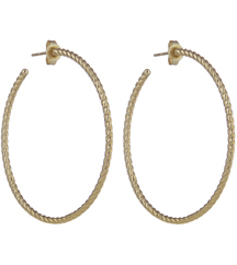 14K YELLOW GOLD ROPE DESIGN HOOP EARRINGS