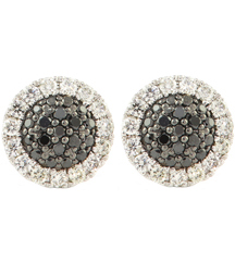 14K WHITE GOLD PAVE BLACK AND WHITE DIAMOND EARRINGS