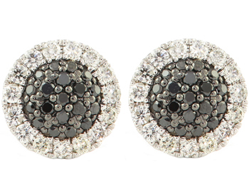14K WHITE GOLD BLACK AND WHITE PAVE DIAMOND STUD EARRINGS