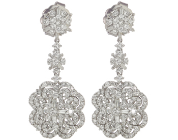 18K WHITE GOLD FANCY 3 SECTION FLOWER DESIGN DIAMOND DROP EARRINGS