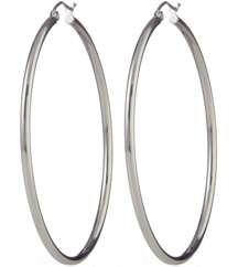 14K WHITE GOLD ROUND TUBE HOOP EARRINGS