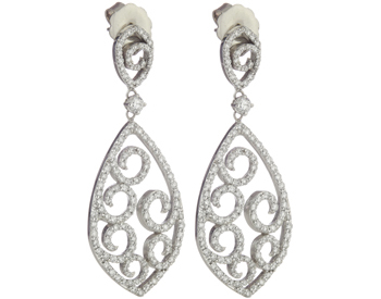 14K WHITE GOLD MARQUISE SHAPED SCROLL DESIGN PAVE DIAMOND DROP EARRINGS