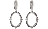 STERLING SILVER TEXTURED OVAL SHAPED BLACK SPINEL AND ROUND DIAMOND DROP EARRINGS