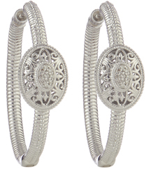 STERLING SILVER TEXTURED OVAL SHAPED FILIGREE AND PAVE DIAMOND STATION HOOP EARRINGS