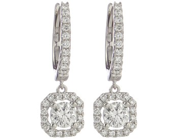 18K WHITE GOLD OCTAGON SHAPED DIAMOND DROP EARRINGS