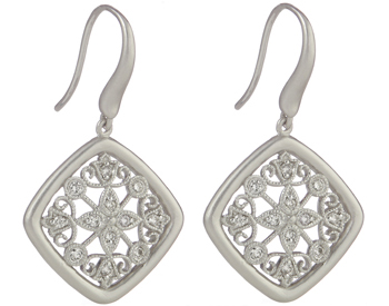 STERLING SILVER SQUARE SHAPED MILLEGRAIN FILIGREE PAVE DIAMOND DROP EARRINGS