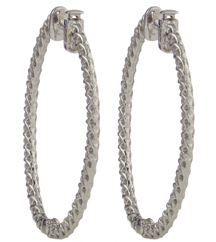 14K WHITE GOLD ROUND DIAMOND OVAL PRONG SET HOOP EARRINGS