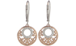 ROSE GOLD PLATED AND STERLING SILVER ROUND PAVE DIAMOND AND FILIGREE DROP EARRINGS