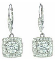 14K WHITE GOLD CUSHION SHAPED DIAMOND DROP EARRINGS