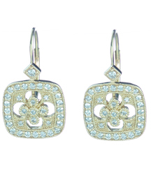 14K YELLOW GOLD CUSHION SHAPED FLOWER DESIGN DIAMOND DROP EARRINGS