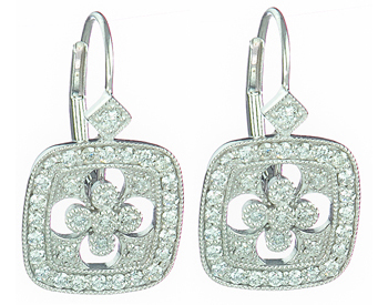 14K WHITE GOLD CUSHION SHAPED FLOWER DESIGN DIAMOND DROP EARRINGS