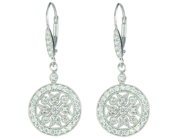 14K WHITE GOLD FANCY ROUND FILIGREE DROP EARRINGS