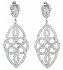 14K WHITE GOLD MARQUISE SHAPED FILIGREE DESIGN PAVE DIAMOND DROP EARRINGS