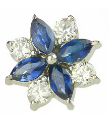 14K WHITE GOLD FLOWER SHAPED DIAMOND AND SAPPHIRE EARRINGS