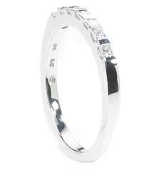 14K WHITE GOLD BAR SET PRINCESS DIAMOND BAND