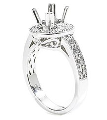 18K WHITE GOLD MILLEGRAIN FILIGREE SEMI MOUNTING