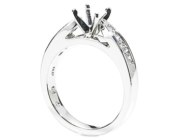 14K WHITE GOLD CATHEDRAL SEMI MOUNTING WITH ROUND CHANNEL SET DIAMONDS