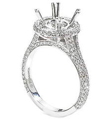 18K WHITE GOLD PAVE DIAMOND ROUND TOP SEMI MOUNTING