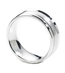 GENTLEMAN'S 14K WHITE GOLD SATIN MILLEGRAIN CENTER AND POLISHED EDGE BAND