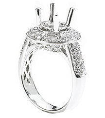 18K WHITE GOLD ROUND TOP FILIGREE AND PAVE DIAMOND SEMI MOUNTING
