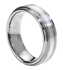 GENTLEMAN'S 7MM TUNGSTEN AND STERLING SILVER STRIPED SATIN CENTER AND POLISHED EDGE BAND