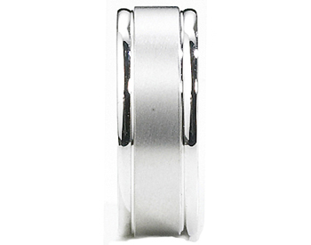 GENTLEMAN'S 14K WHITE GOLD 8MM SATIN CENTER AND POLISHED GROOVED EDGE BAND